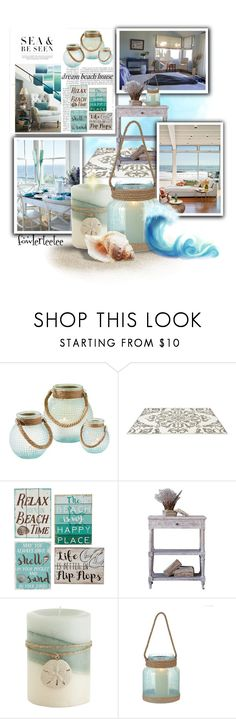 """""""Dream Beach House Decor...by fowlerteetee"""" by fowlerteetee ❤ liked on Polyvore featuring interior, interiors, interior design, home, home decor, interior decorating, Two's Company, Carson, Pier 1 Imports and Handle"""
