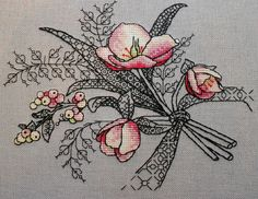 Blackwork leaves & stems with colored thread for flowers Motifs Blackwork, Blackwork Cross Stitch, Blackwork Embroidery, Cross Stitching, Cross Stitch Embroidery, Embroidery Patterns, Hand Embroidery, Cross Stitch Kits, Cross Stitch Charts