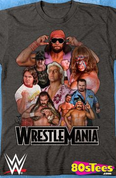 WrestleMania Legends T-Shirt: WWE Wrestling Mens T-Shirt With great art and illustration this t-shirt features popular wrestling legends in their glory for all fans of the sport to enjoy.