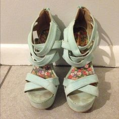 Pastel turquoise wedges Size 7, 7 inch wedges from Charlotte Russe. I will try to get the dirt out before sending Charlotte Russe Shoes Wedges