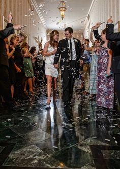 bride & groom leaving for honeymoon, confetti toss. Wedding at Arlington Heights United Methodist and The Fort Worth Club