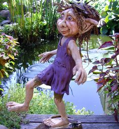 Trollerina, troll that has to take ballet lesson. Made of Formo clay. She is 10 inch high.