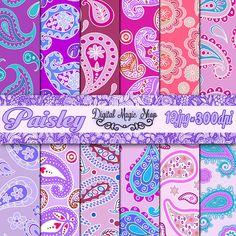 Digital Paper Pack Blue Purple Pink PAISLEY Pattern by DigitalMagicShop, $2.50
