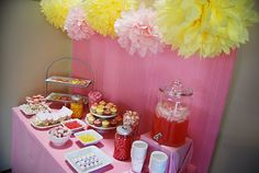 Pink and yellow baby shower