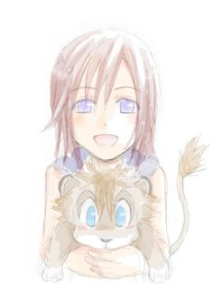 Kairi & lion cub Sora. Where's my Namine with lion cub Roxas? x3