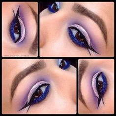 Graphic Winged Liner by @DASHOFBEAUTYMUA in Motives Glitter Pots(Celebrate) and Khol Eyeliners(Onyx & Electric Blue)!   #Khol #Blue #Party