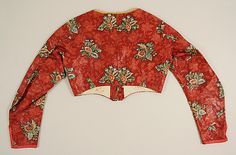 Red patterned cotton spencer. Austrian. Back. Early 19th century, Met museum