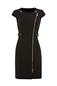 zip detail short sleeve dress