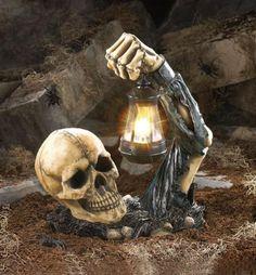 Sinister Skeleton Skull LED Lantern Lamp Statue Light Zombie or Halloween Prop Halloween Prop, Outdoor Halloween Parties, Halloween Skeleton Decorations, Halloween Graveyard, Halloween Village, Halloween Skull, Halloween Projects, Halloween Party Decor, Holidays Halloween