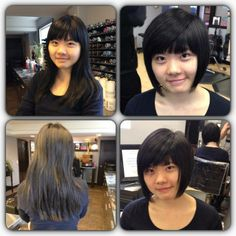 Before and after womens hair. Long, thick hair cut into a sleek and sassy bob with bangs. Hair by Paola Lugo. Duncan Edward- Progressive European Hair Design in Madison, WI. www.duncanedward.com #duncanedward #womenshair #beforeandafter #bob