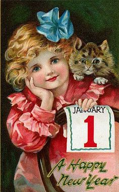 Vintage New Year Postcard Happy New Year New Year Greeting Cards, New Year Greetings, New Year Card, Vintage Greeting Cards, Vintage Christmas Cards, Christmas Images, Vintage Holiday, Christmas Art, Victorian Christmas