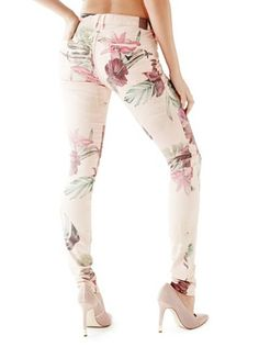 Low-Rise Jeggings with Colorful Forest Print at Guess