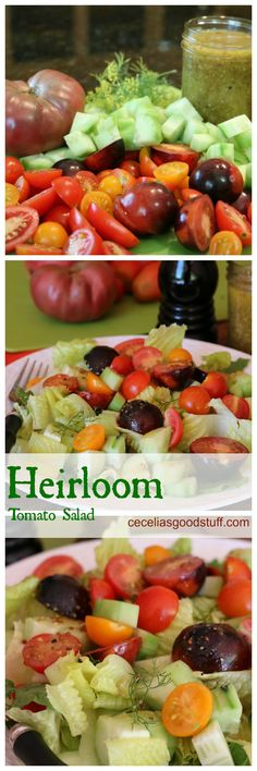 Heirloom Tomato Salad with Vinaigrette - Healthy Recipe www.ceceliasgoodstuff.com