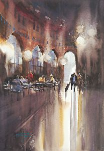 Café, Praha, Czech Republic III by Keiko Tanabe Watercolor ~ 19 x 13 inches (48 x 33 cm)