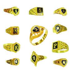 22carat Yellow Gold & Enamel Initial Men's Rings Various Shapes and Designs   #MarketOrders #GoldJewellery #GoldRings #Men's #Gold #Rings #Initial #MO #Retail #Online #Marketplace #B4B