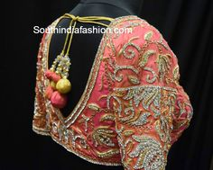 Bridal Saree Blouses ~ Fashion Trends ~ – Page 5 of 39 – South India Fashion Wedding Saree Blouse Designs, Pattu Saree Blouse Designs, Saree Wedding, Lehenga Blouse, South Indian Blouse Designs, Peach Saree, Modern Saree, 2015 Fashion Trends, Blouse Back Neck Designs