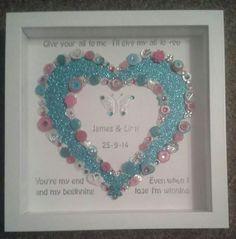 Button art wedding heart