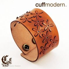 bloompop...laser cut leather cuff bracelet by ColinFrancisDesign