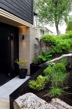 A LUSH GREEN ENTRANCE TO THE HOUSE - Therese Knutsen Back Garden Design, Entrance Design, Outdoor Spaces, Outdoor Decor, Backyard, Patio, Lush Green, Black Decor, Curb Appeal