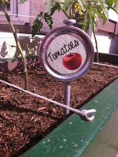 garden markers from canning jar lids