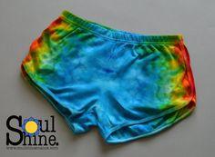 Psychedelic RAINBOW Warrior BOOTY Shorts Large by SoulShineMaine #soulshinemaine #rainbowwarriorprincess #rainbows #tiedye
