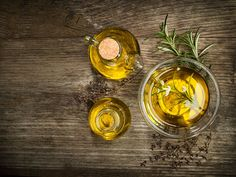 Cooking Q&A: Regular Olive Oil vs. Extra-Virgin? Image: Jar and bowl of…