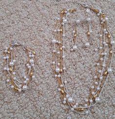 Premier Designs MELROSE 3 piece Jewelry Set Faux Pearl Gold Silver Plated  #PremierDesigns #bracelet #necklace #earrings #fashion #present #ebay
