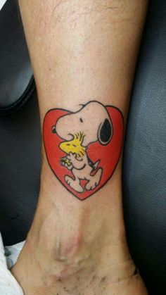 _ snoopy and woodstock ankle tattoo _