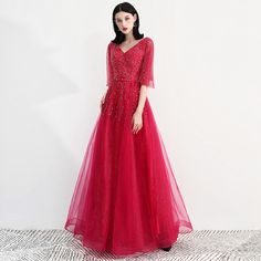 Abendkleider Formal Gown Wine Red Evening Dresses Tulle with Sequins Robe  De Soiree Elegant 2019 Vestido 68bf8b963cdb