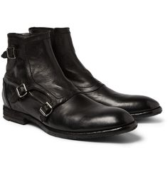 """Alexander McQueenTriple Monk-Strap Washed-Leather Boots