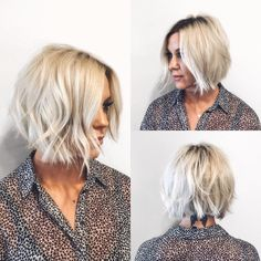 This Choppy Platinum Bob with Undone Texture and Shadow Roots is a great modern haircut for someone seeking a hip, trendy style that offers versatility. This short bob can be worn polished or messy, by adding textured waves and volume. It's a great style to easily help you flow from work to play. The platinum blonde color with shadow roots give this look a sexy modern twist, and enhances the textured appearance. Styling tips for this short bob and other similar short hairstyl