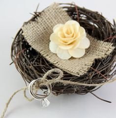 Rustic Birds Nest Ring Bearer Pillow by Rusticblend on Etsy, $10.00