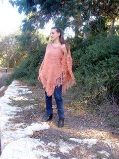 Peach Womens Poncho Orange Knit Poncho Womens Shawl by ettygeller, $79.00