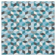 Cool Blue 3 D Geometric Abstract Fabric - craft supplies diy custom design supply special