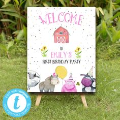 Editable Farm Animals Welcome sign, Farm Animals instant download invitation,You print birthday invitation, Party Animals DIY party Party Animals, Safari Animals, Animal Party, Farm Birthday, Diy Party, Party Printables, Birthday Celebration, Birthday Invitations, Sign