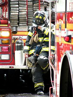 Firefighter....the ex was a firefighter before he became a lawyer....wish he had stayed on the back of a truck!