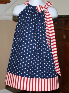Pillowcase dress - NEW Patriotic Stars Stripes American Flag, Red, White, Blue 4th of July 3 mos thru 4T