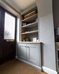Meadow alcove pics | TW Bespoke Alcove Storage, Alcove Shelving, Oak Shelves, Alcove Cupboards, Built In Cupboards, Fitted Cabinets, Living Room Built Ins, Open Wardrobe, Under Stairs Cupboard