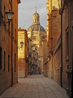 Streets of Salamanca, Spain. Ah, so random. I ran across this pin and reminisced about walking the streets of Salamanca. I probably walked this very street! Places Around The World, Oh The Places You'll Go, Great Places, Places To Travel, Beautiful Places, Places To Visit, Around The Worlds, Madrid, Spain And Portugal