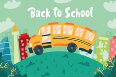Back To School Bus - Illustration by AQR Studio on Creative Market, Creative Banners, Creative Kids, Your Design, Custom Design, Graphic Illustration, Creative Illustration, School Opening, Coreldraw, Interactive Design