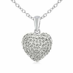Wow! 925 Sterling Silver Cubic Zirconia Cz Crytals Round Heart Pendant Large 15mm Heart Shape Necklace,