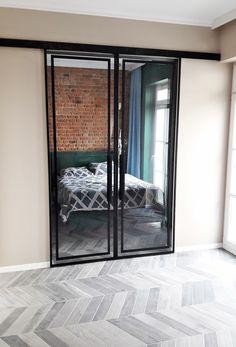 Drzwi Loftowe - Industrialne | Drzwi wewnętrzne - zabudowy szklane - drzwi loft - podłogi Mirror Door, Diy Bedroom Decor, Home Decor, Bauhaus, Entryway, Stairs, Art Deco, Loft, Doors