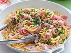 Ham Carbonara    Craving a rich, indulgent meal? No problem! This light dish will satisfy. You can use bacon or pancetta if you don't have any ham and, for extra oomph, add sliced mushrooms.