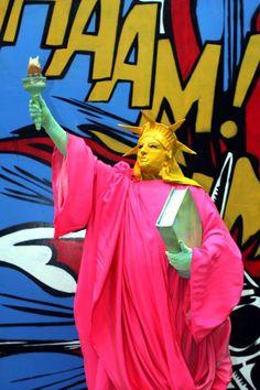 Pop art themed human Statue of Liberty