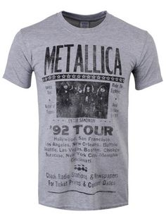 Whether you were at one of the gigs or have simply heard about Metallica's legendary tour of '92, this vintage grey tee is a must have for your band merch collection! Featuring a retro tour poster design, this tee is the perfect way for an fan to support the American heavy metal band. Official Merchandise.