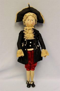 "15"" Antique PEG WOODEN MAN Original 18th Century Costume & Floss Wig EX+Ca.1900"