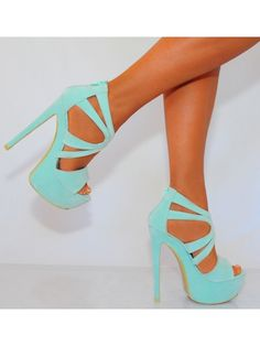 Ladies Mint Green Strappy Cut Out Peep Toe Platforms High Heels