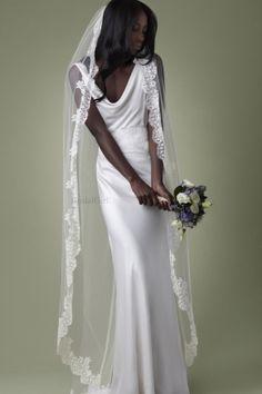 Amazing Sheath/Column V-neck White Court Train Beach Wedding Dress