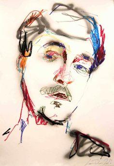 """Saatchi Online Artist: Lou ROS; Oil Pastel, 2012, Drawing """"Autoportrait 13"""""""