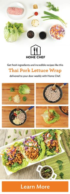 Get $30 off your first order when you try Home Chef today! Skip the grocery store and make amazing home-cooked meals with the help of Home Chef. World-class chefs do the shopping and hand-select the freshest ingredients so you can make delicious recipes like these Thai Pork Lettuce Wraps. Each meal is delivered straight to your door with easy-to-follow recipe instructions so you can feel like a five star chef every night of the week.